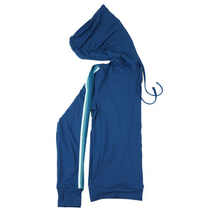 blue pullover hoodie, front pocket, drawstring hood, long sleeves with ribbed cuff