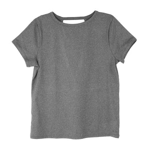 front of gray crossover tee, yoga tee, workout top with vented back, grey