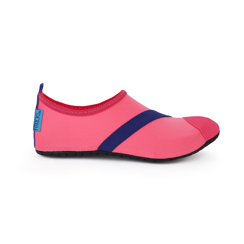 coral pink fitkicks, fitkicks pink with purple stripe, stretch shoes, minimal shoes