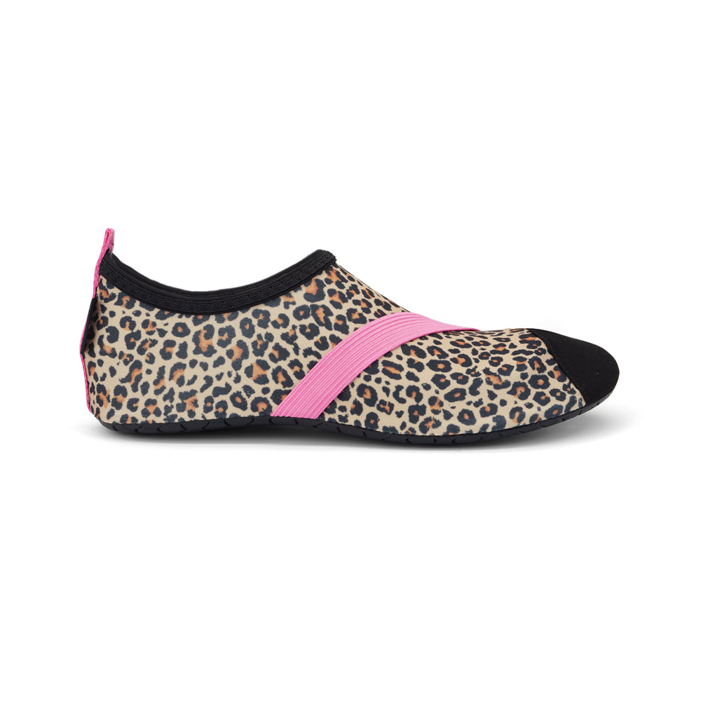 fitkicks leopard cheetah animal print in warm browns with pink accent