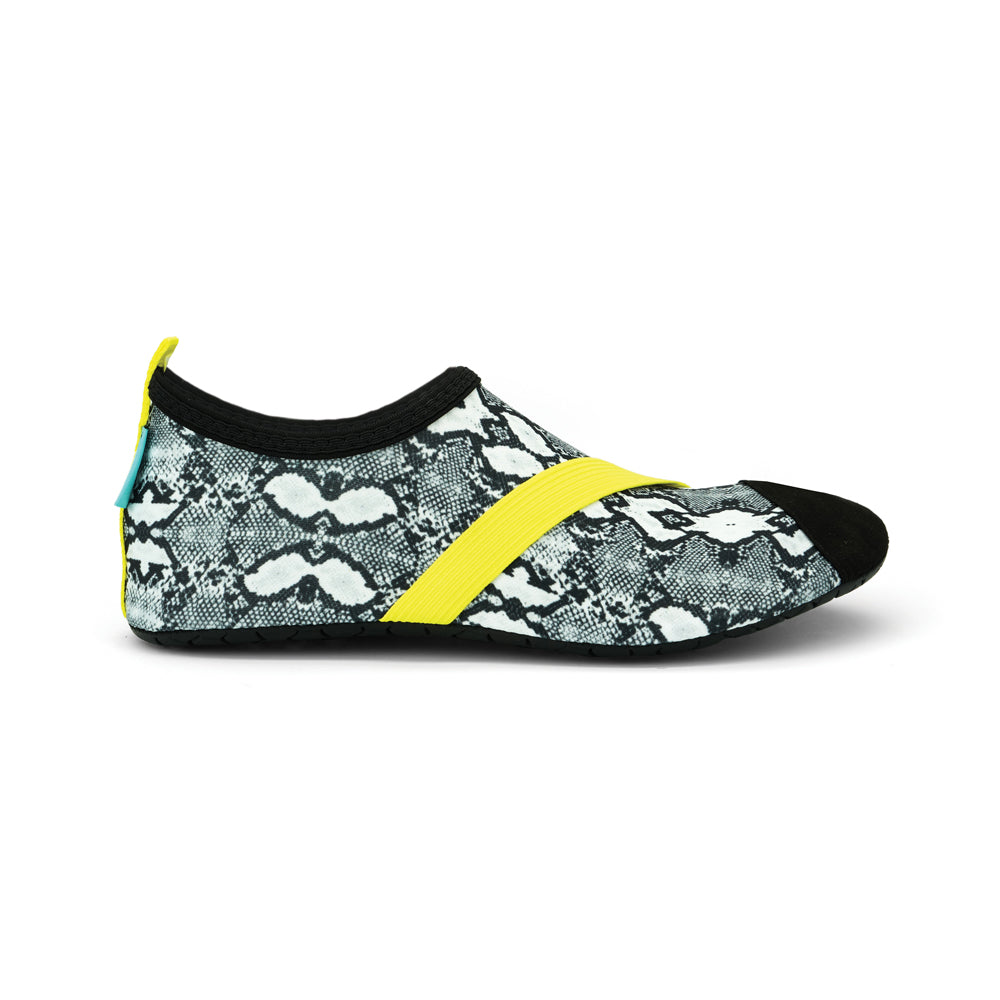 fitkicks snake boa print, black and white, yellow band, women's fit kicks, athleisure stretch shoes
