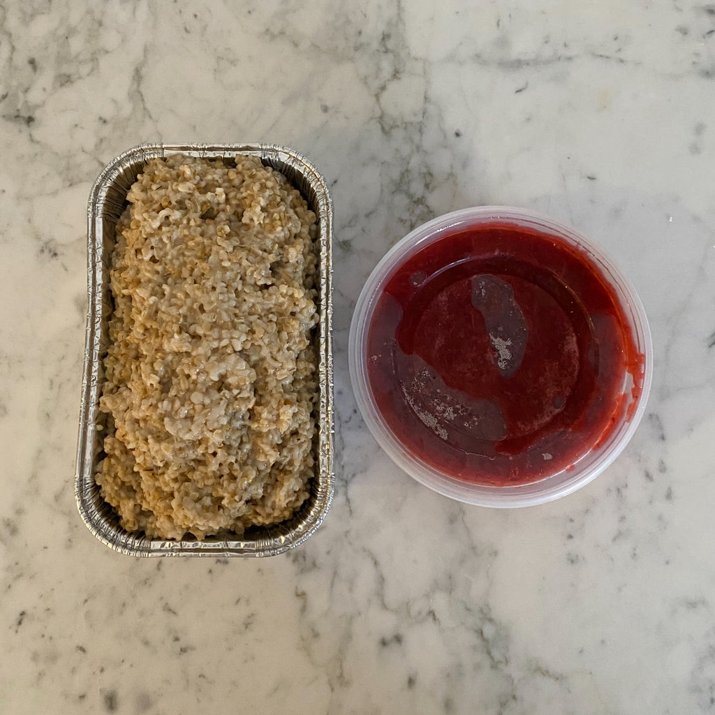 Oat Loaf with Strawberry Rhubarb Compote