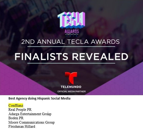 Conffianz is named Tecla Awards 2016 Finalist!