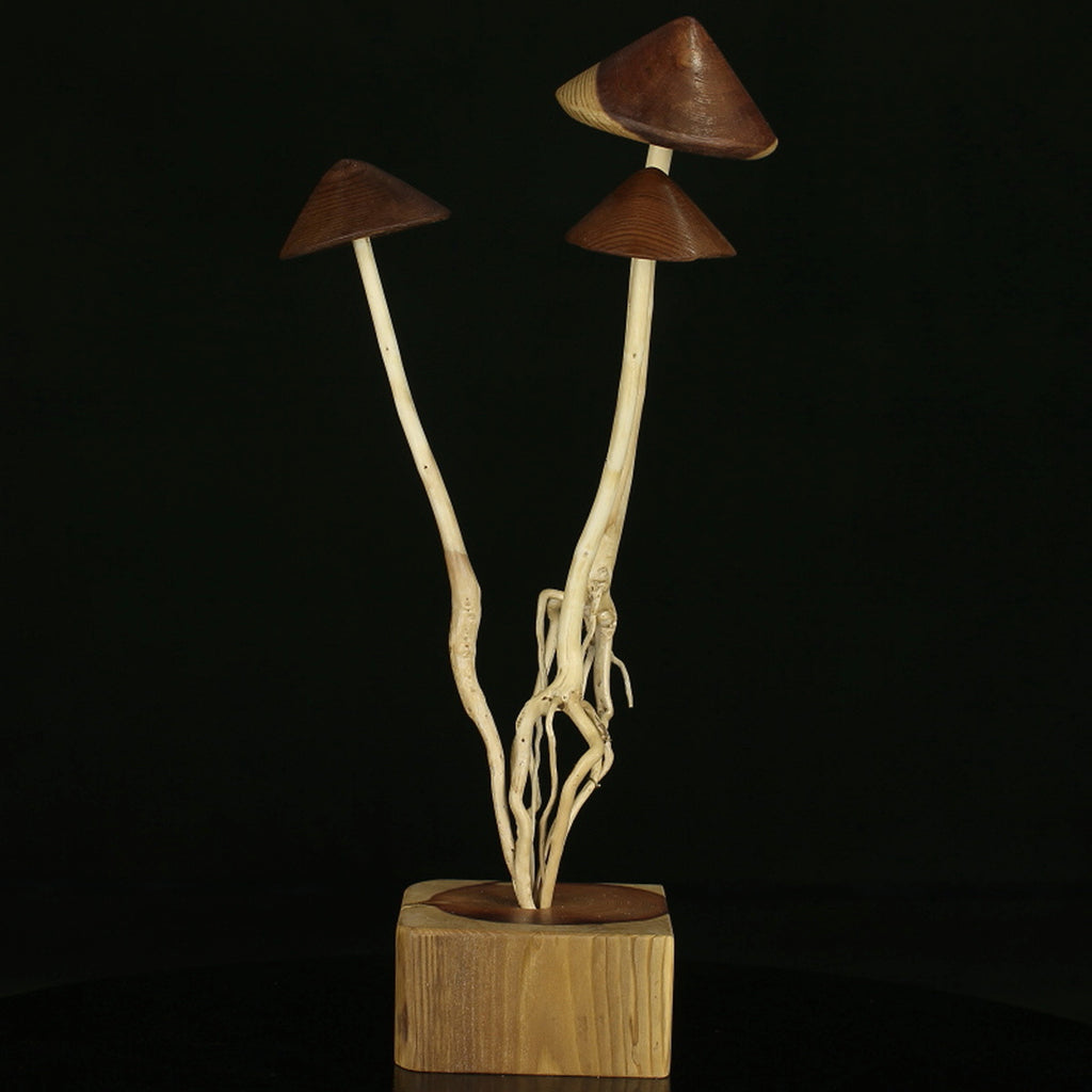 Enchanted Forest Mushroom Trio #3, art from wood, trees, and roots