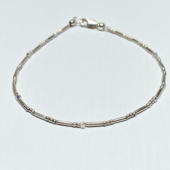Fine Silver 2mm beaded bracelet with accent Swarovski Crystals