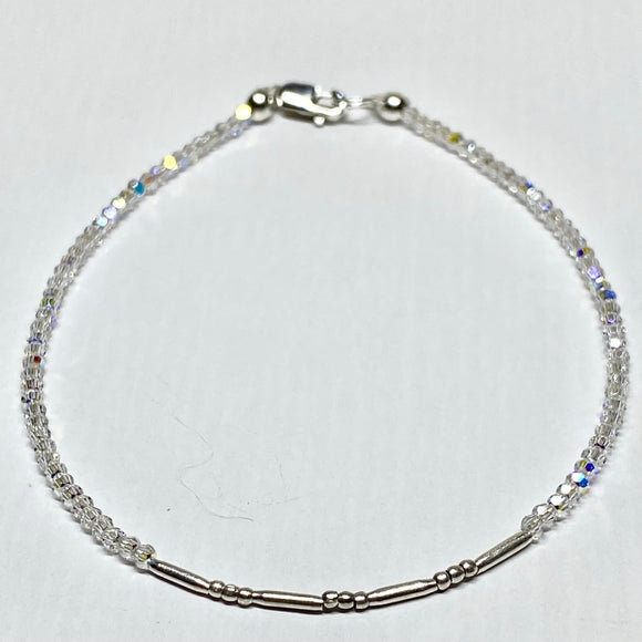 Swarovski Crystal Bracelet with 2mm beads and fine silver bead accent.