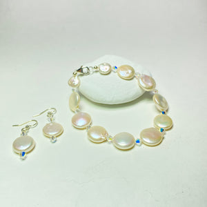 Coin Pearl Bracelet and Earring Set
