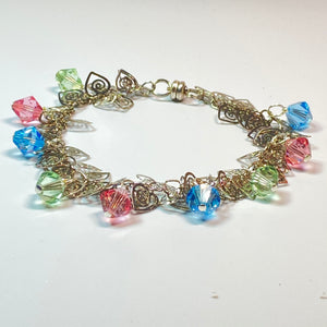 Swarovski Crystal accented Aluminum Bracelet with Magnetic Closure