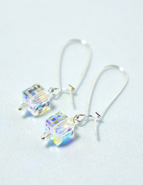 Clear Cube Drop Earrings