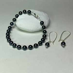 Tahitian Look Swarovski Pearl and Crystal Bracelet and Earring Set