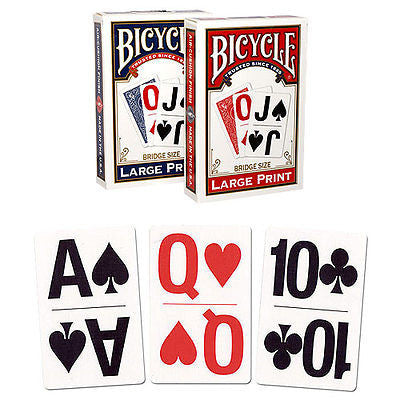 Bicycle Large Print Deck - Red - Bridge Size