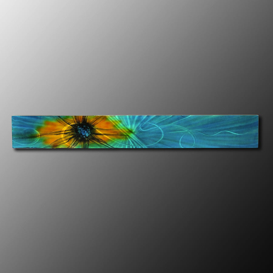 "Aqua - Teal Abstract Metal Wall Art  ""Aqua - Teal Sun Burst"""