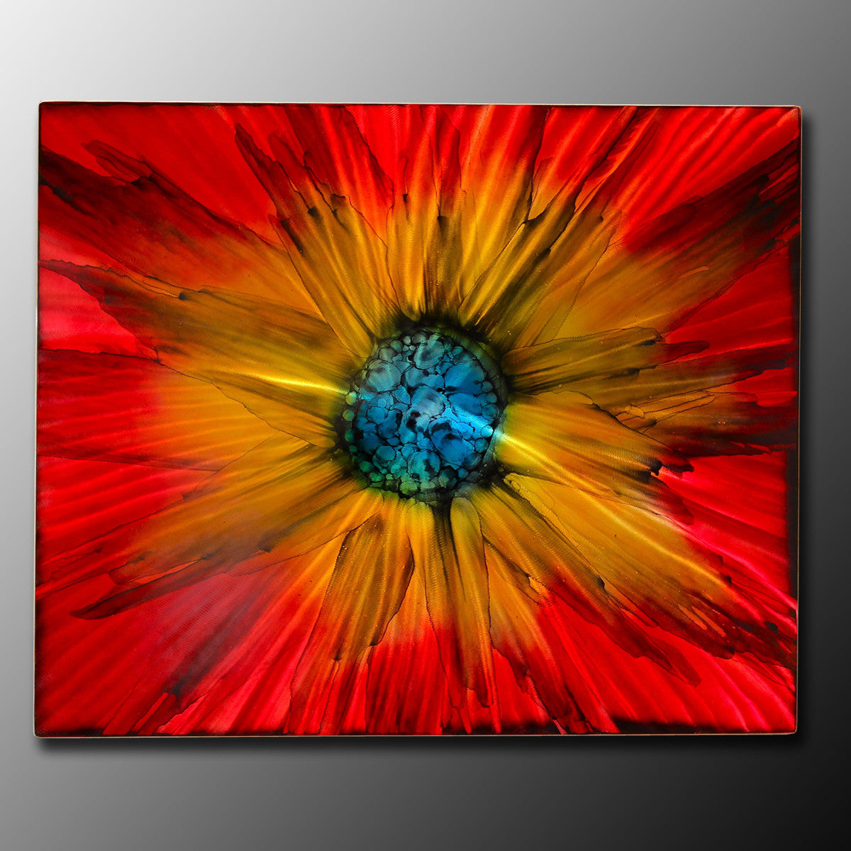 "Large Abstract Paintings  ""Abstract Red Sun Burst - Rectangle"""