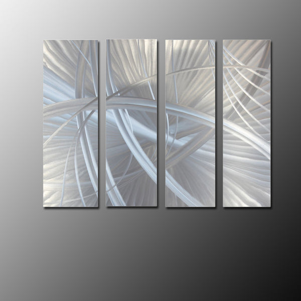 Multi Panel Wall Art | Bold Metal Artwork in Silver Pieces – Herbst ...