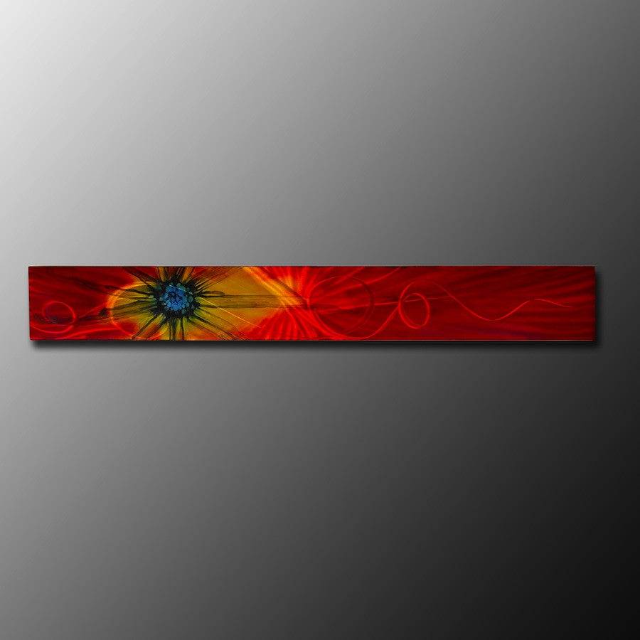 "Red Metal Abstract Wall Art  ""Red Sun Burst"""