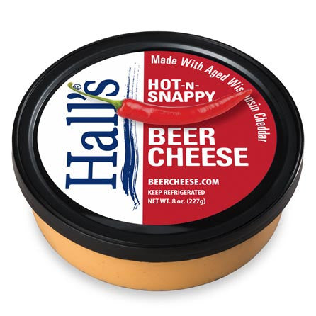 Hall's Hot-N-Snappy Beer Cheese in 8 ounce tub.