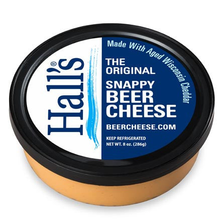 Hall's Original Snappy Beer Cheese in 8 ounce tub.