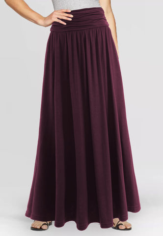 High Waist Shirring Maxi Skirt With Pockets