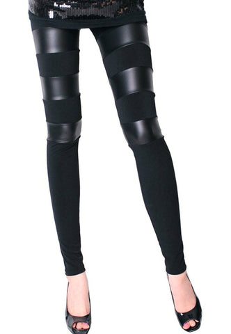 Back Zipper Black Faux Leather Leggings