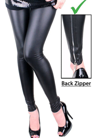 0509449fff178 Back Zipper Black Faux Leather Leggings