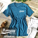Women's Short Sleeve Crew Basic T-shirt - Mommy Since XXXX Print on Chest