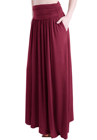 Bohemian Style High Waist Shirring Ruffle Pocket Maxi Length Skirt