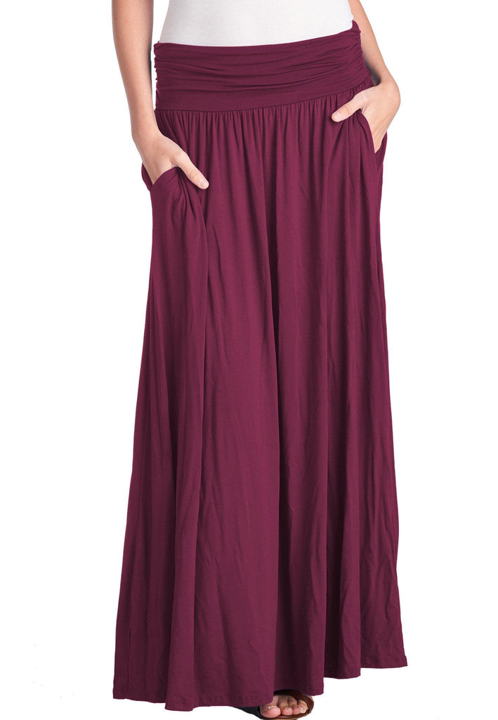 6c8bf32c1 High Waist Fold Over Shirring Maxi Skirt with Pockets – Trendy United