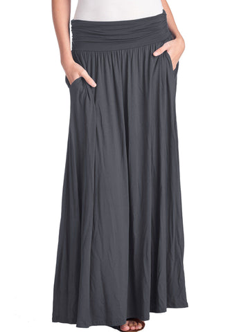 High Waist Fold Over Pocket Shirring Calf Length Skirt