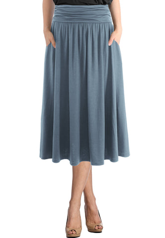 High Waist Fold Over Pocket Shirring Ankle Length Skirt