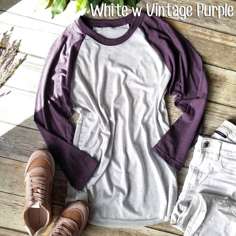 White w Vintage Purple