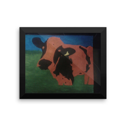 The Pop Art Cow Framed poster  (Free shipping)