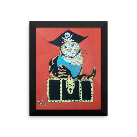 Pirate Cat Guard Original Rob C Framed poster (Free Shipping)