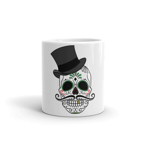 Day of the dead sugar skull with hat Mug (Free delivery)