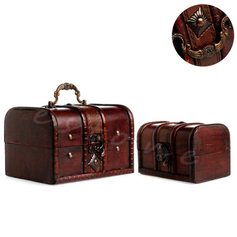 2pcs Chic Wooden Pirate Jewellery Storage Box Case Holder Vintage Treasure Chest