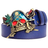 Skull Pirate belt real cowskin belt men metal punk belt skull head