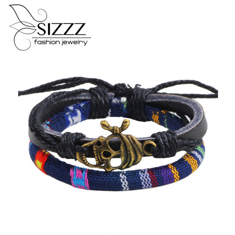 New Fashion Skull Leather Bracelets Punk pirate Bracelets  For Men  European and American Jewelry Hot