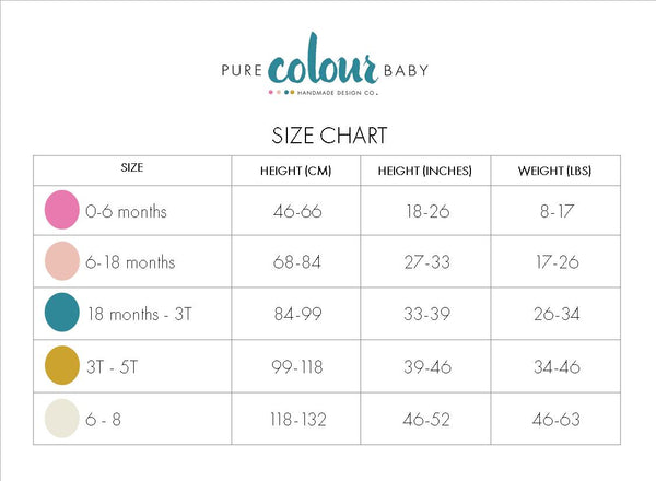 Pure Colour Baby Size Chart