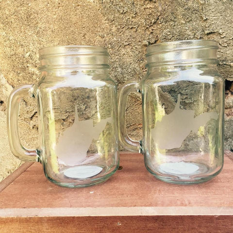 Pair of Mason Jar Mug (16oz) - Loving West Virginia (LovingWV)