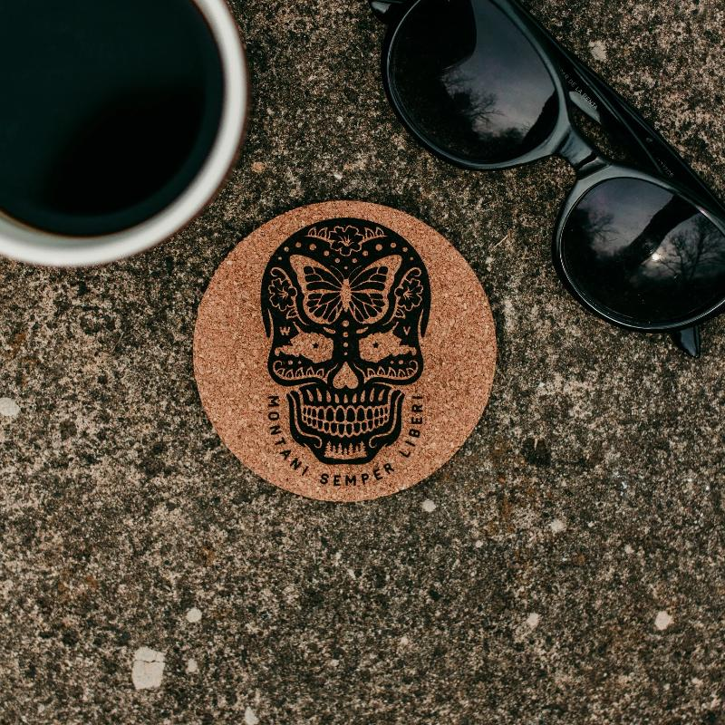 Sugar Skull Cork Coaster (2 Pack) - Loving West Virginia (LovingWV)