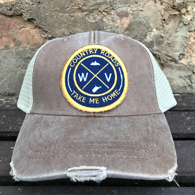 Distressed WV Patch Trucker Hat - Loving West Virginia (LovingWV)