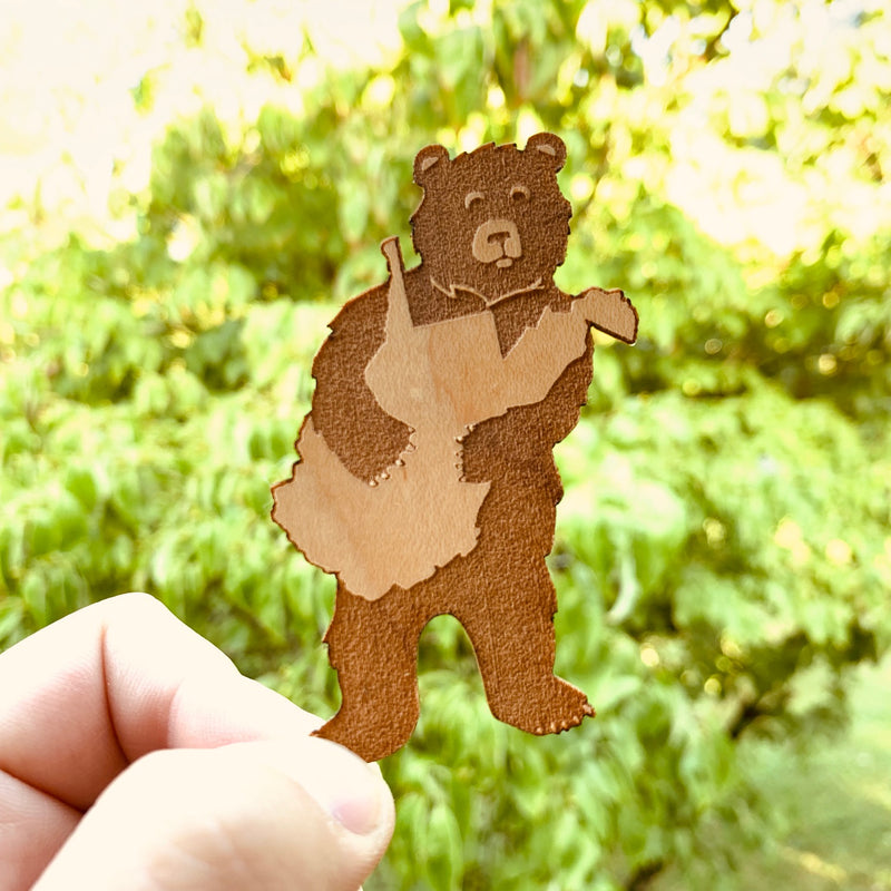 Bear Hug Wooden Sticker - Loving West Virginia (LovingWV)