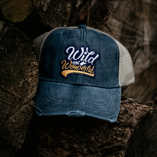 Distressed Wild & Wonderful Patch Trucker Hat - Loving West Virginia (LovingWV)