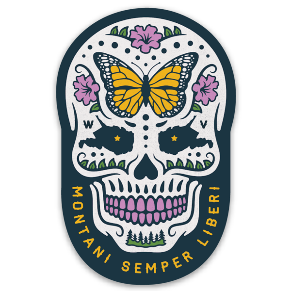 West Virginia Sugar Skull Sticker - Loving West Virginia (LovingWV)