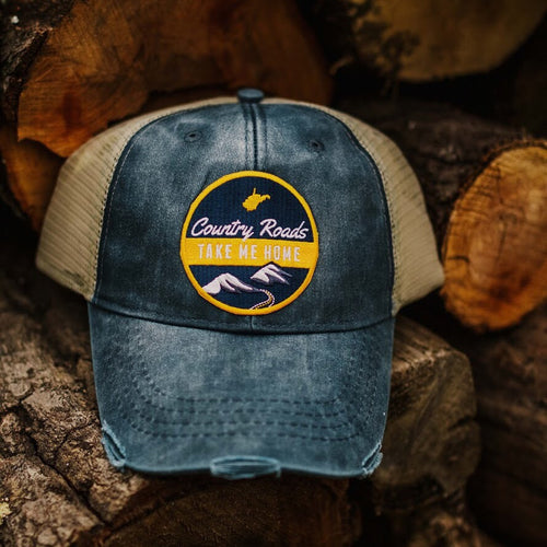 Distressed Country Roads Patch Trucker Hat - Loving West Virginia (LovingWV)
