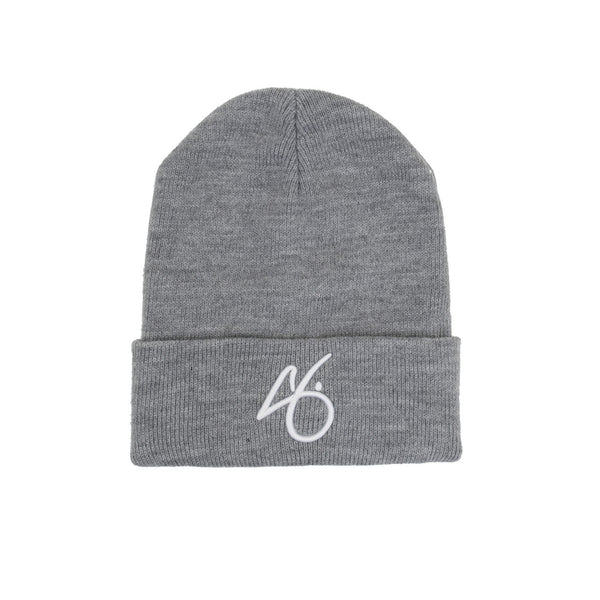 "The ""G"" Cuff Beanie - Heather Grey/White"