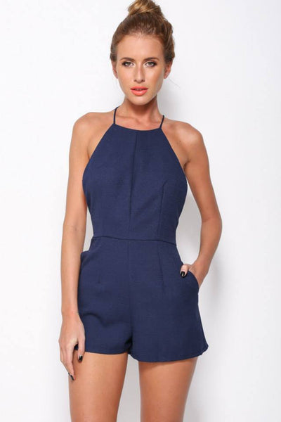 top brands hot product elegant and graceful Butterfly In My Stomach Romper Navy