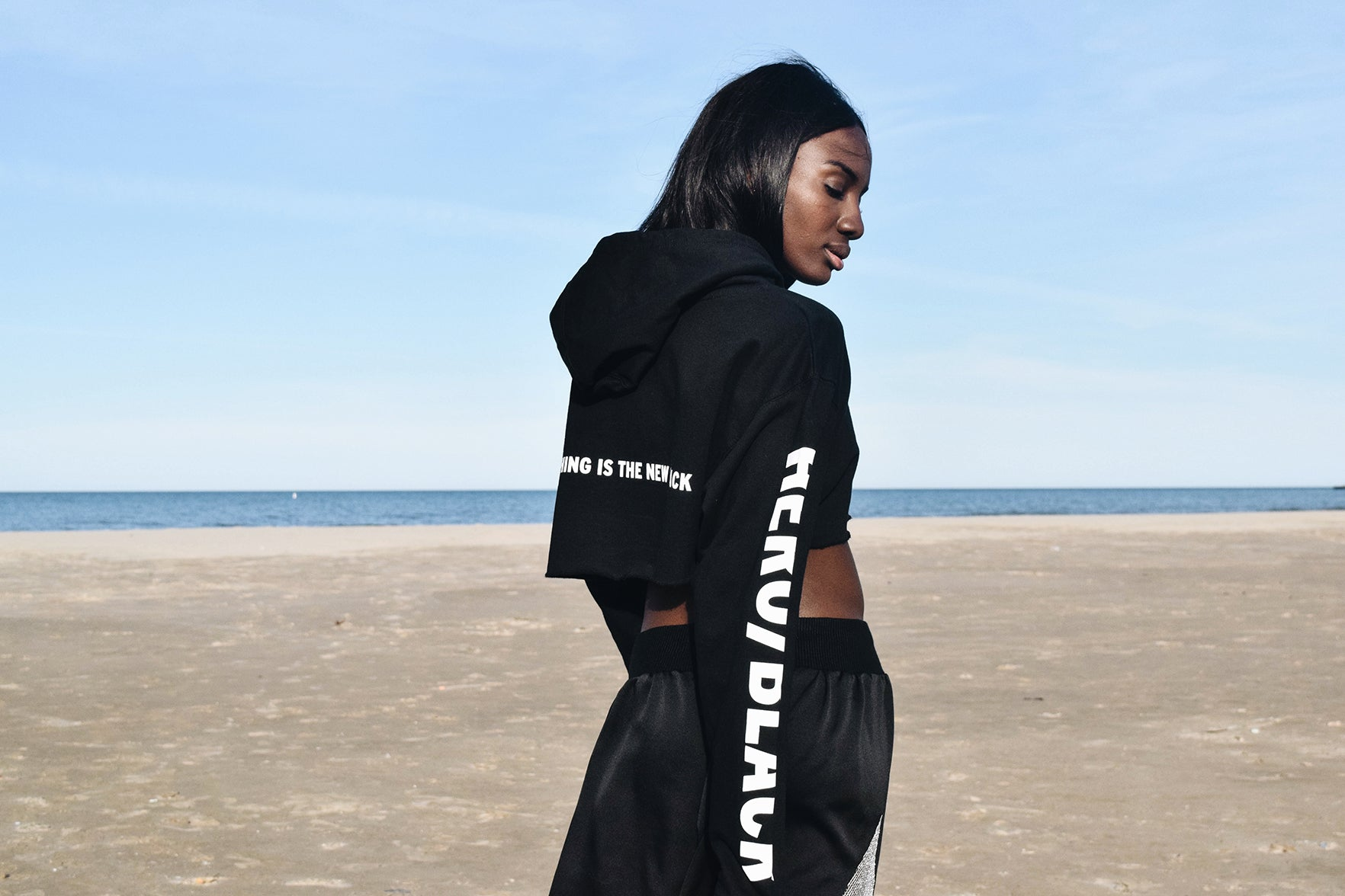 "CROPPED ""NOTHING IS THE NEW BLACK"" HOODIE"