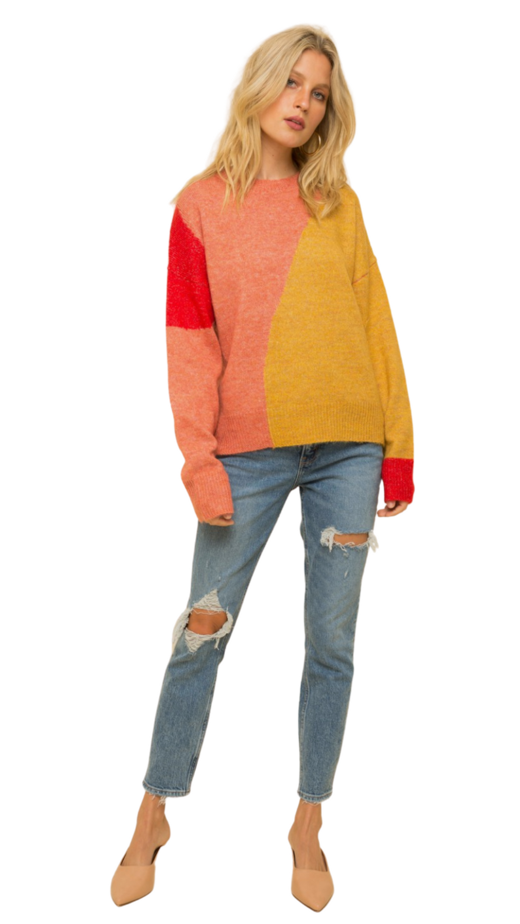 Color Block Crew Sweater