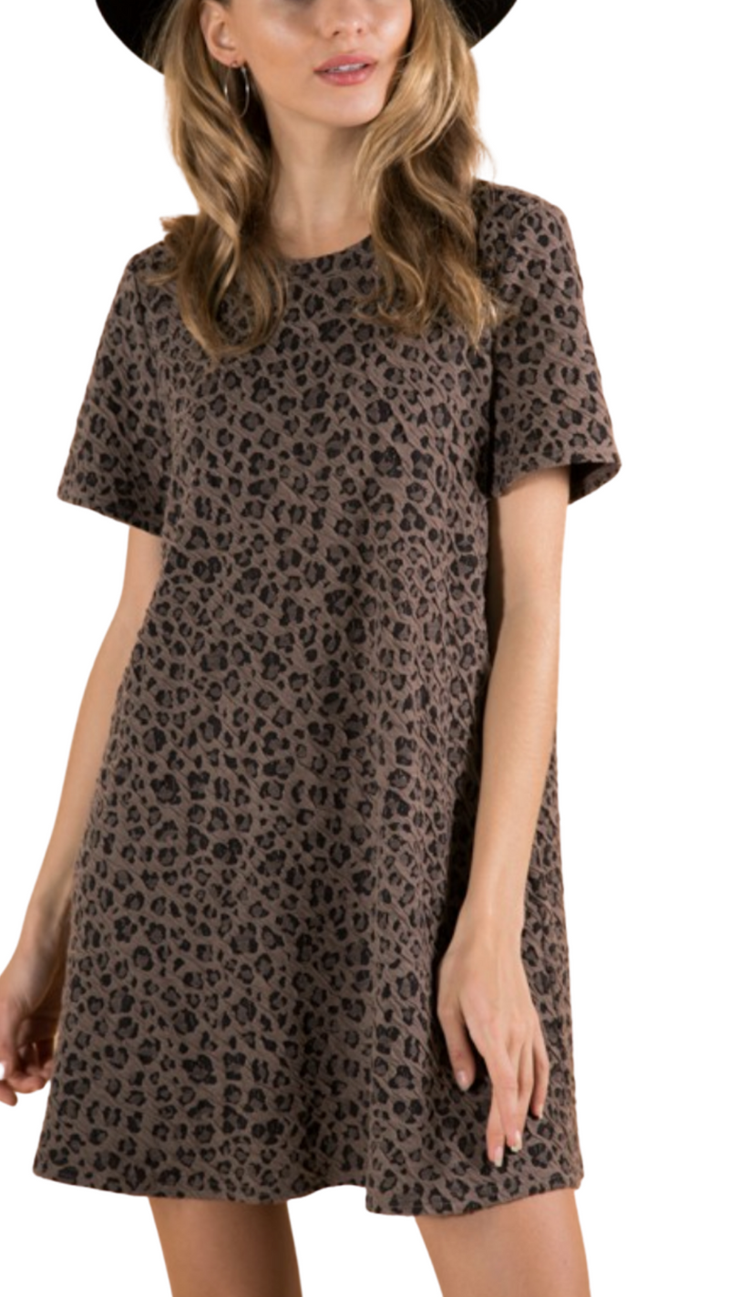 Coffee Leopard Shift Dress