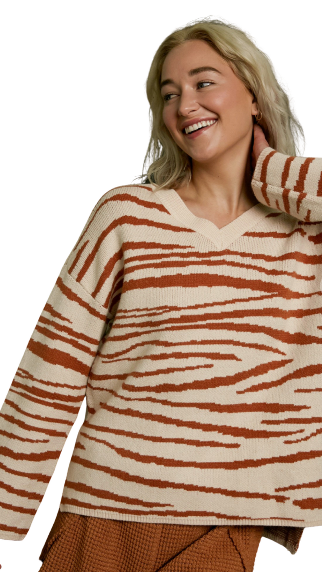 V-Neck Zebra Sweater